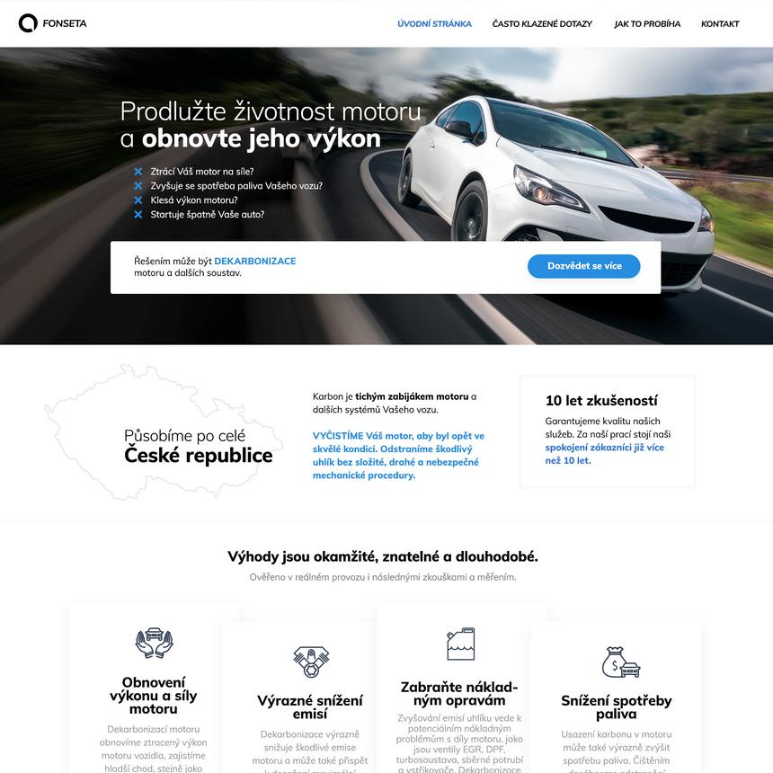 Tvorba webových stránek pro gekarbonizaci motoru
