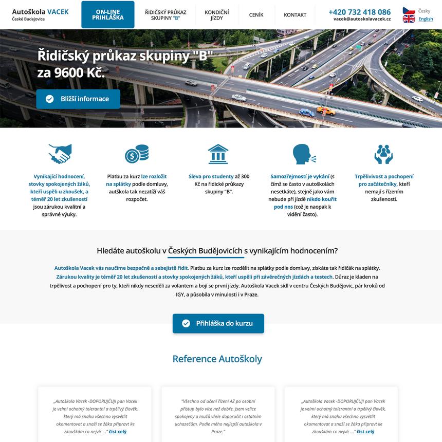 Webové stránky autoškoly