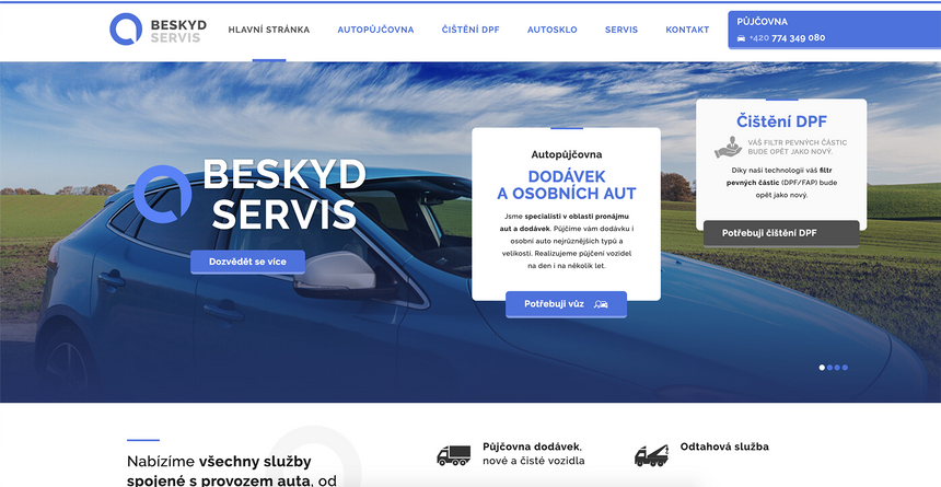 Tvorba webových stránek Autopůjčovny