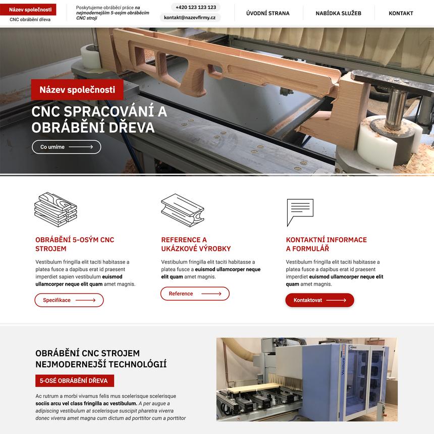 Tvorba webu pro CNC obrábění dřeva